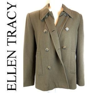 Ellen Tracy Olive Cashmere/Wool Blend Pea Coat